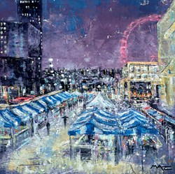 South Bank Market London by Mark Curryer - Original Mixed Media on Board sized 24x24 inches. Available from Whitewall Galleries